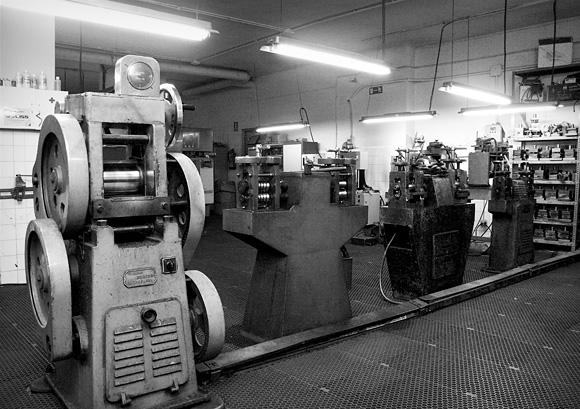 Imagen en blanco y negro de los talleres de Federico Nieto