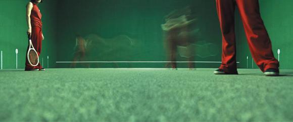 A panoramic digital photograph of clones playing Jalai Alai